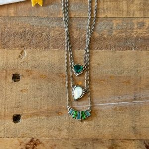 Chloe + Isabel Green Art Deco Layering Necklaces